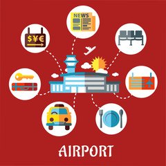 Airport and flight service flat concept