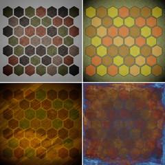 set of grunge geometric hexagon pattern