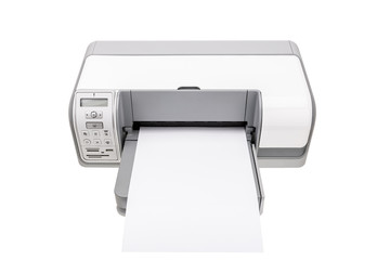 Office printer with a clean paper for text.