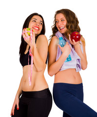 Laughing Fit Women Eating Healthy Food