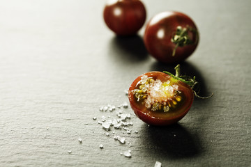 Fresh grape tomatoes with  salt