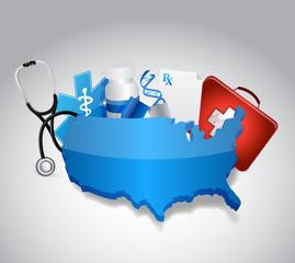 medical icons around a us map illustration design