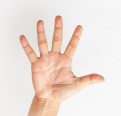 Male hand stretching out