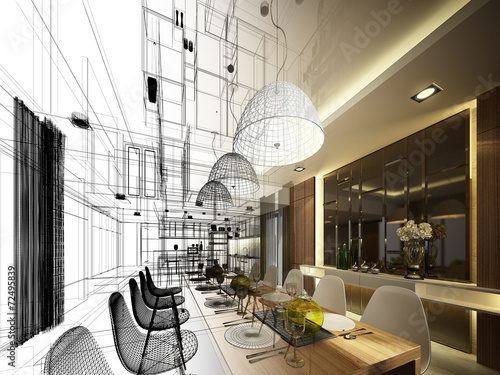 Fotobehang Stad gebouw abstract sketch design of interior dining