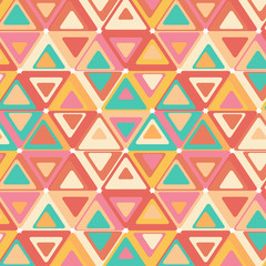 Cute seamless retro pattern of triangles.
