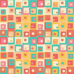 Cute seamless retro pattern of squares.