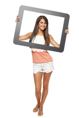 Woman looking through frame