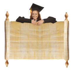 Graduate girl with vintage blank
