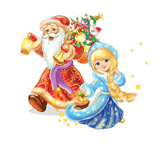 Funny Santa Claus and snow maiden