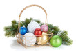 Colorful christmas baubles and fir tree
