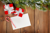 Fototapety Christmas gift boxes and greeting card
