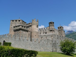 The medieval castle of Fenis the Aosta valley in Italy