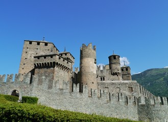 The medieval castle of Fenis in the Aosta valley in Italy