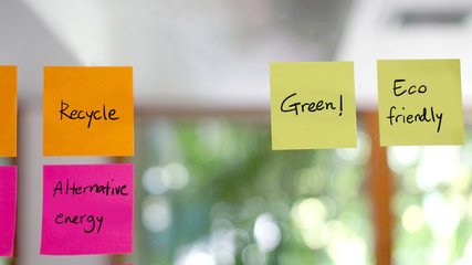 sustainable, green design concept post it
