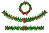 Christmas vector garland from needles, lights, ribbons - 72498260