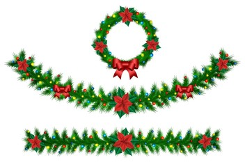 Christmas vector garland from needles, lights, ribbons