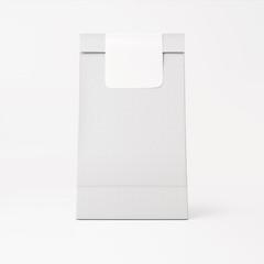 White paper bag with white sticker