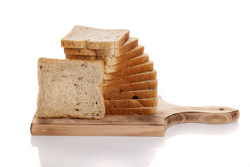 slices of bread on a wooden board