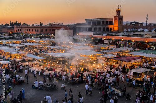 Aluminium Afrika Blick auf Djemaa el Fna in Marrakesch