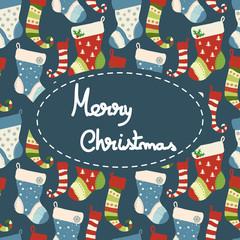 Christmas greeting card with socks