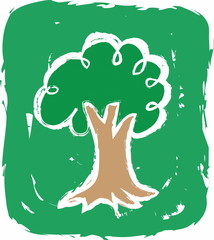 doodle eco green tree symbol