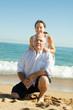mature couple against sea