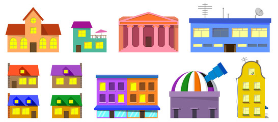 Cute vector town buildings set