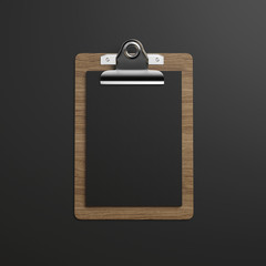 Clipboard with black paper on dark background