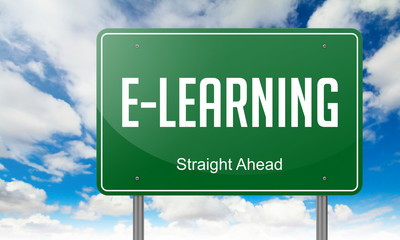 E-Learning on Highway Signpost.