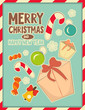 Christmas retro postcard with toys and gift Box