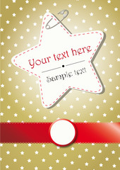 GOLDEN CHRISTMAS BACKGROUND WITH STARS AND A RED BORDER
