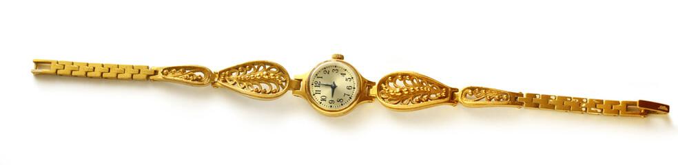 Golden female hand watch