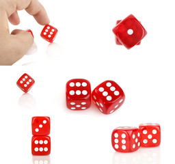 red dice with hand