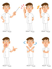 白衣の看護師男性6種類のポーズと表情
