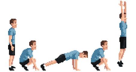 Burpees Exercise (Retro Pixel Style)