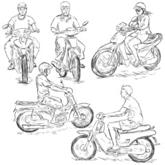Vector Set of Sketch Riders on Motorbikes