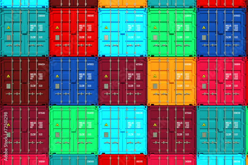 canvas print picture Lots of Colorful Cargo Containers.
