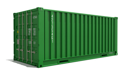 Green Container on Isolated Background.