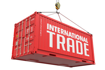 International Trade - Red Hanging Cargo Container.