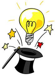 シルクハットから飛び出す電球