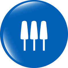 Ice Cream Icon on Internet Button isolated on white