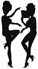 girls dancing in silhouette