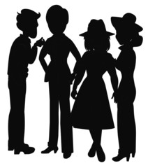couples in silhouette