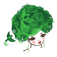 Girl with the curly hairs full of birds. Symbol of Nature