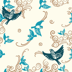 Seamless pattern with flying birds and beautiful curves