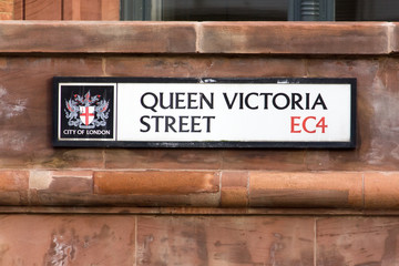 Queen Victoria street sign, London