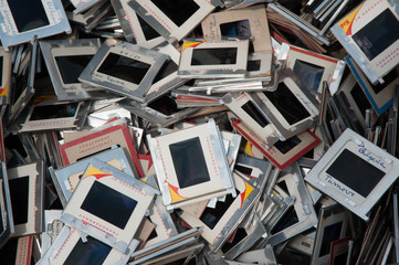 Pile of old transparancy film