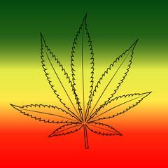 Cannabis leaf on rastafarian reggie flag background, horizontal.