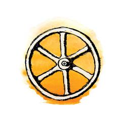 Wheel or Valve, vector sketch illustration