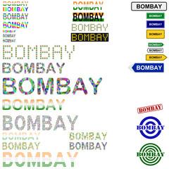 Bombay (Mumbai) text design set